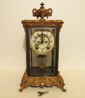Ansonia crystal regulator clock fine gold colored finish faux mercury pendulum