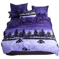 Purple Floral Printing Bedding Set Duvet Cover+Sheet+Pillow Case Four-Piece New