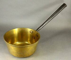 = Antique 18/19th C. Large Thick Brass Cooking Pot Saucepan Wrought Iron Handle