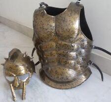 Roman Muscle Armor Breastplate Gladiator Helmet Maximus Spartan Warrior Costume