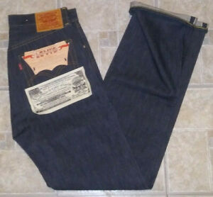 Levis LVC Big E S501XX 1944 WW2 indigo denim selvedge jeans raw blue 30 34 tab