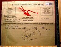 1936 NEOSHO FOUNDRY & PLOW WORKS NEOSHO MISSOURI Billhead Bill Head