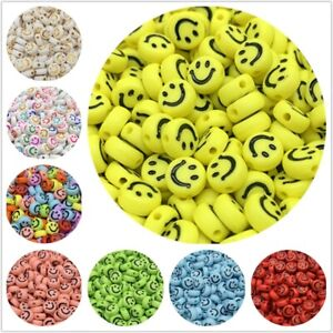 100 Pc's 7mm Smile Smiley Happy Face Acrylic Oval Spacer Beads Jewelry Making