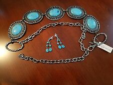 turquose belt and earrings set
