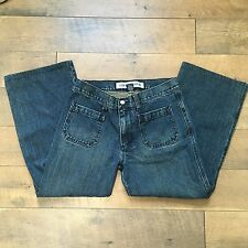 Gap Sz 8 Low Rise Flare Capri Jeans Cropped Blue Denim 100% Cotton Womens Size 8