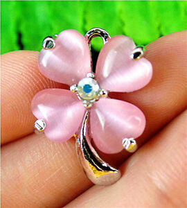 23x17x5mm Alloy Insert Pink Cat Eye Gemstone Clovers Pendant Bead BT98011