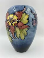 Signed Walter Moorcroft Vase, Old Columbine Collection In Blue Stamped On Base