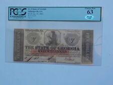 Civil War Confederate 1862 5 Dollar Bill PCGS Milledgeville Georgia Paper Money
