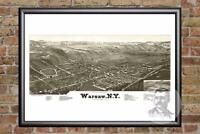 Vintage Warsaw, NY Map 1885 - Historic New York Art - Old Victorian Industrial