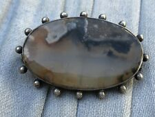 Stunning Antique Victorian Moss Agate Oval Brooch Pin Ball Mount Silver Tone