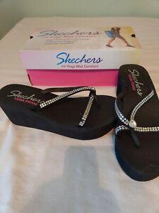 Skechers Jeweled Yoga Foam Flip Flop Women Size 10