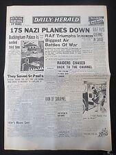 Ww2 Newspaper Buckingham Palace Bombed Raf 175 Planes September 16 1940 Herald