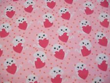 Kitty With Heart Snuggle Cotton Flannel Fabric - White Kittens and Pink Hearts
