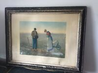 "Jean Francois Millet Antique Framed Artwork-""The Angelus"" Print"