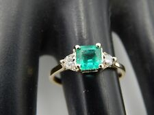 .70 tcw Natural  AAA+ Colombian Green Emerald & Diamond F/VS 3 Stone Ring 14k YG