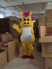 1p Yellow Dragon Mascot Costume Suit Cosplay Game Dres Outfit Advertising Unisex