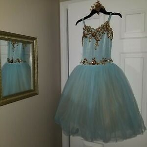 Curtain Call Girls Ballet Costume Blue/Gold Tutu CLA