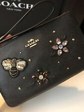 COACH Large Wristlet Clutch w/ Gemstones Bee Crystal Flowers $178