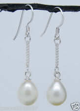 925 Sterling Silver Cultured Freshwater 6-7mm white pearl Dangle earrings