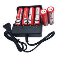 6X 18650 Battery 3.7V 6800mAh Li-ion Rechargeable+US Plug Charger for Flashlight