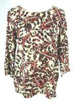 J. Jill Tunic Top Sz S Rayon All Season Leaf Print Red Beige Small Womens Blouse
