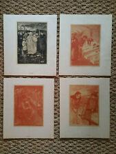 Lot de 4 Lithographies orig sign Theophile Alexandre Steinlen Scènes de genre