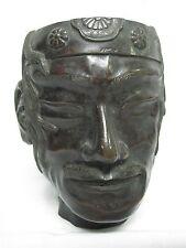 ANTIQUE BRONZE INDIAN HEAD FIGURAL TOBACCO JAR ~ NO LID