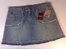 NEW LEI Blue Jean Skirt Size 15 Large L Distress Fringe Cut Off Dress Denim