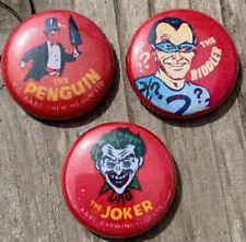 "Batman Villains  Button Pin-back 1"" Joker Riddler Penguin Vintage Like Batman 96"