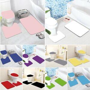 3 Pcs Non Slip Toilet Mat Set Lid Covers Bathroom Pedestal Rug Floor Mats Sets