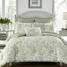 Laura Ashley Natalie Bonus Comforter Set Pure Cotton Full Queen Sage Green