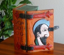 "RARE! Antique DON QUIXOTE ""Quijote"" Hand Carved Painted Wooden Book Shaped Box"