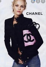 AUTH CHANEL CC CAMBON LINE TOTE PINK BLACK LAMBSKIN BAG VINTAGE 1994 RARE