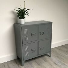 67cm Compact Urban Industrial Cabinet / Small Grey Vintage Locker Sideboard