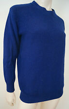 FINE COLLECTION Royal Blue Wool Cashmere Textured Knit Round Neck Jumper Sz:S