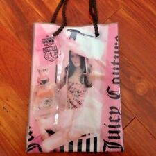 JUICY COUTURE VINYL COSMETIC TOTE LUNCH BAG GIFT BAG  ROPE HANDLE CLEAR NEW