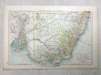 1899 Antik Map Of Australia Neu South Wales Victoria Alte 19th Century Original