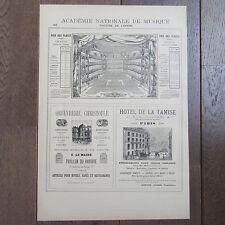 PUBLICITE ANCIENNE 1898 THEATRE DE L'OPERA ORFEVRERIE CHRISTOFLE HOTEL TAMISE