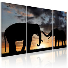3PC HD Canvas Prints Sunset Elephant Home Decor Wall Art Painting (No framed)