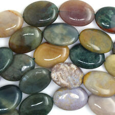 "25mm indian agate flat oval beads 16"" strand S1"