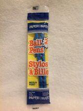 Vtg Papermate Blue Ink Plastic Stick Cap Ball Pens Medium Point 2 Pack 1975 NIP