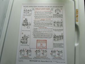 2 1922 Delco Light Plant Models 850-1250,1271-1278 Engine Instruction Posters