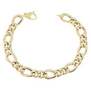 "Women's Italian 14k Yellow Gold Hollow Figaro Chain Bracelet 7.5"" 9mm 5.3 grams"