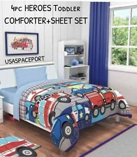 4pc HEROES Toddler COMFORTER + SHEETS SET Bed in a Bag Crib Firemen Police boys