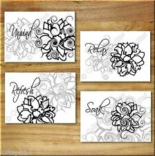 BLACK WHITE GRAY Wall Art Bathroom Flower Floral Prints Decor Relax Soak Unwind