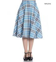 Hell Bunny 50s Tartan Skirt Aberdeen Hogmony DORALEE Blue White All Sizes
