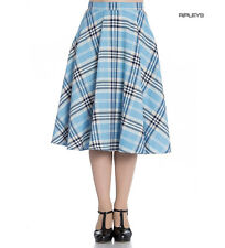 Hell Bunny 50s Tartan Skirt Aberdeen Hogmony DORALEE Blue White All Sizes
