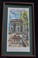 Vintage Art Print Framed Wall Paris L'Arc De Trioaphe Street Scene