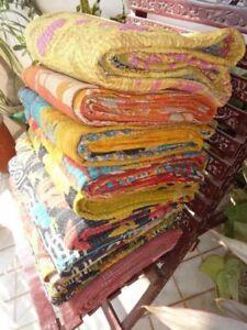 Vintage Handmade Wholesale Lot Kantha Quilt Reversible Throw Bedding Bedcover