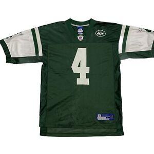 Brett Favre #4 NFL Jersey New York Jets Men L Reebok Green White  Nylon Mesh